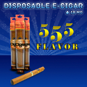 Disposable Electronic Cigar 1800 puffs 555 tobacco flavor is perfect for anyone looking for a mellow tobacco blend. The 555 disposable cigar has a nice light tobacco flavor with an earthy, nutty hint to round out the edges.