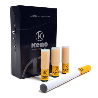 The all new Keno Vapor e cigarette cartomizer kit, equipped with the newest soft tip cartomizers technology and come in a small metal case, a compact kit that provides you with a discreet and tasteful e cigarette!